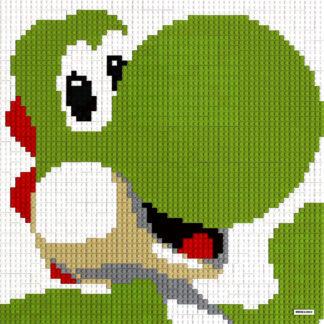 Tableau de Yoshis en Lego